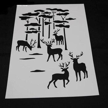 1pc Stencils Bullet Journal Painting Template DIY Forest Deer Embossing Stencils Accessories For Scrapbooking Stencil Reusable 1pc stencils bullet journal gthrush bird painting template diy embossing stencils accessories for scrapbooking stencil reusable