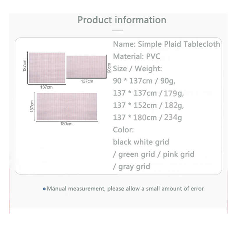 INS กันน้ำ Tableware Pad PVC ตารางผ้าสดตาข่ายรูปแบบตารางกาแฟรองเม้าส์ Oil-proof Anti-scald ผ้าปูโต๊ะนุ่ม