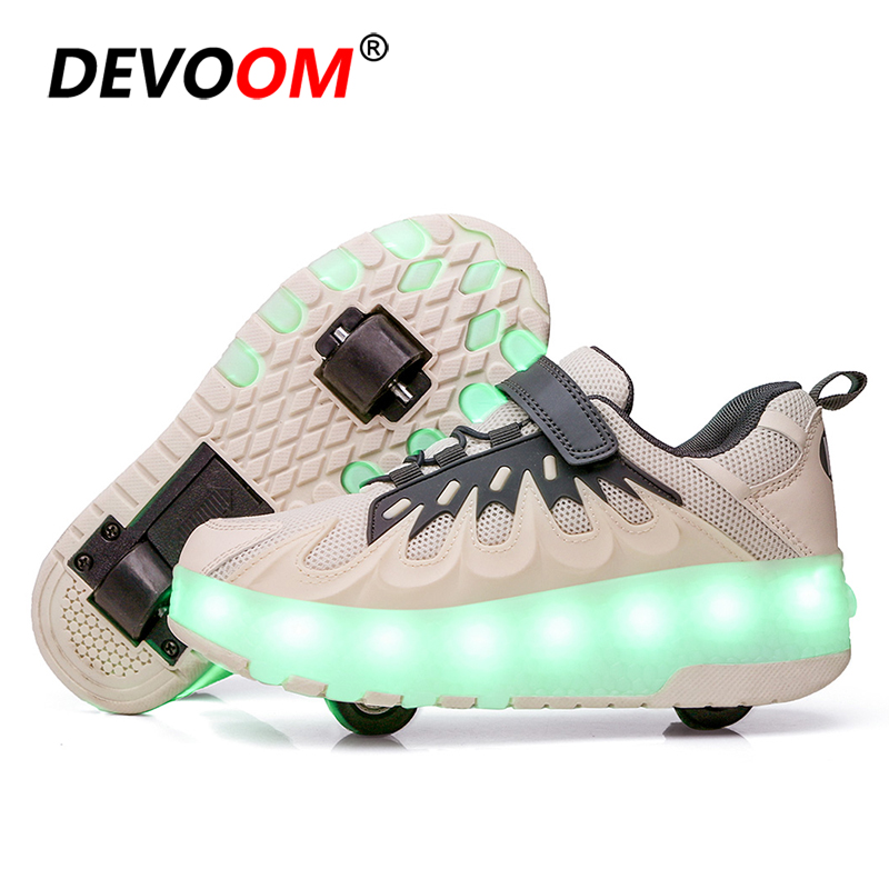 LED Light Children's Running Shoes Boys And Girls Light Shining Sneakers Outdoor Kick Roller Shoes Skate Wheel Sport Shoes Kids