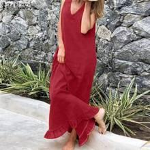 Maxi Sundress Robe Female-Tunic Vestidos Bohemian V-Neck Plus-Size Women's Summer Causal