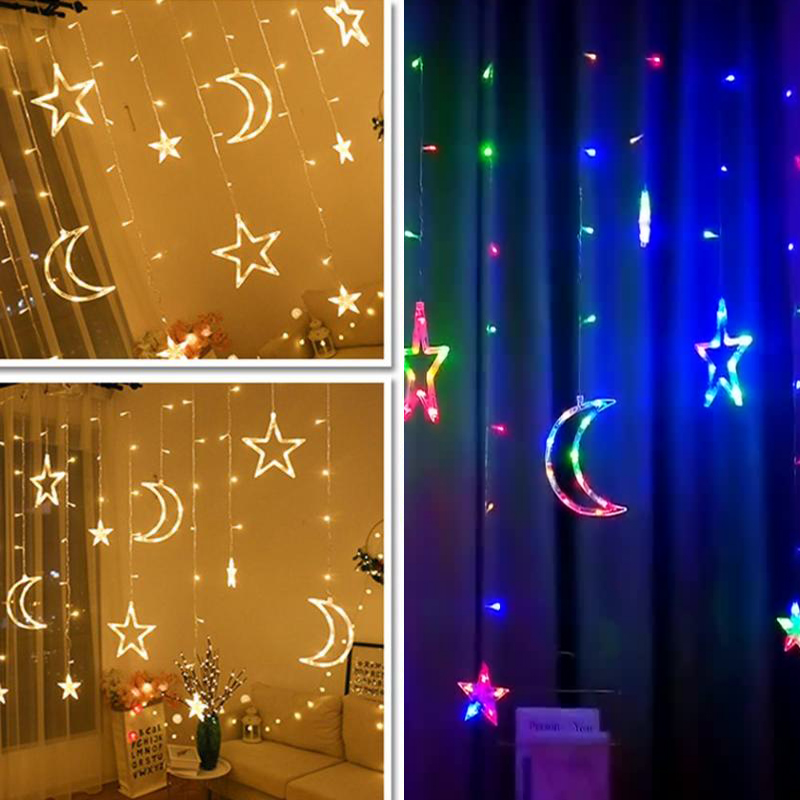 3mLED Festoon Window Curtain Fairy Lights String Moon Star Lamp Christmas Lights Pentagram Garland Lamp Party Wedding Decoration