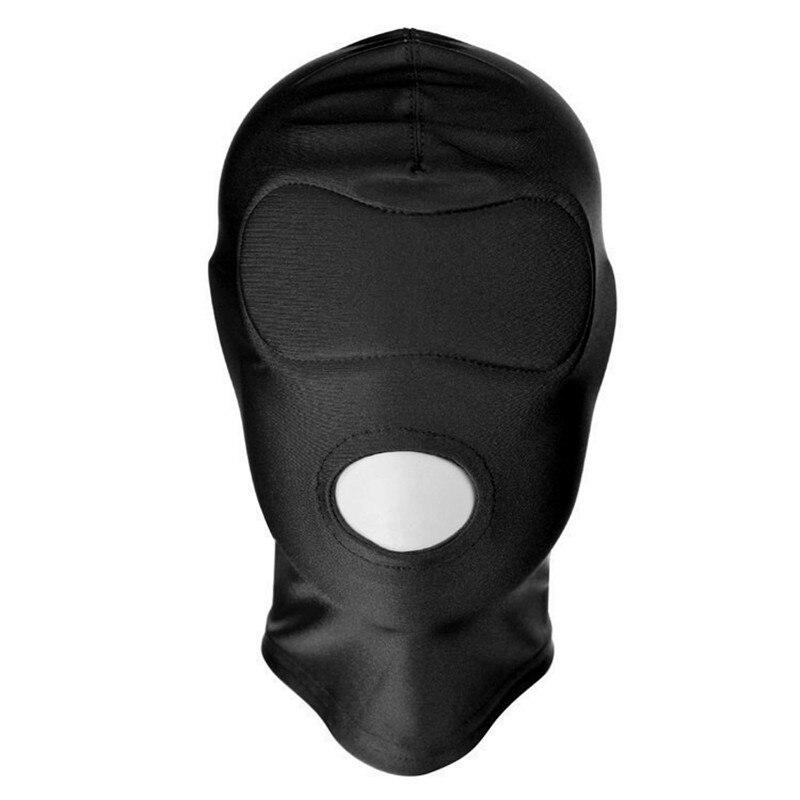 Size Small / Big 4 Style Erotic Mask Hood Sexy Lingerie Open Mouth Eye Mask Black BDSM Headgear Cosplay Slave Bondage Game