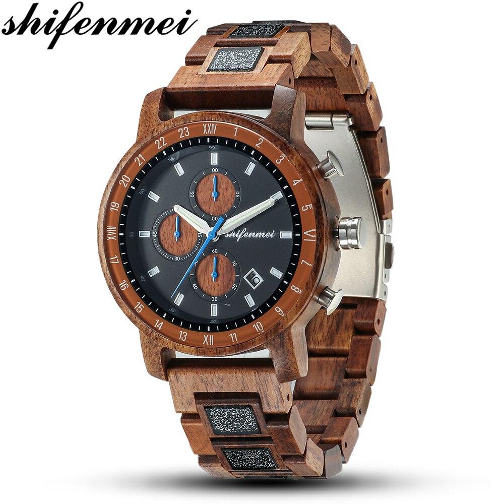 Shifenmei 크리 에이 티브 전체 나무 망 시계 천연 나무 석영 손목 시계 수제 대나무 스포츠 시계 그레이트 선물 madera reloj