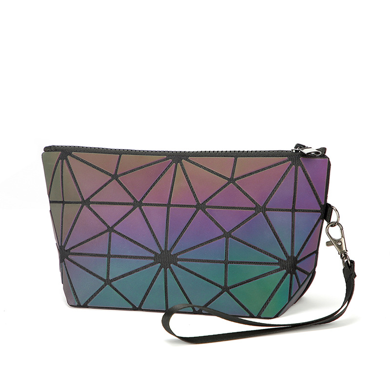 Litthing Zipper Cosmetic Bag Women Luminous Make Up Ag Geometric Women's Cosmetics Organizer Folding Travel MakeUp Bag