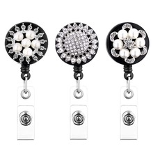 Crystal Pearl 3 Pack Retractable Badge Reel Holder for Nurse Cord Bling ID with Belt Clip