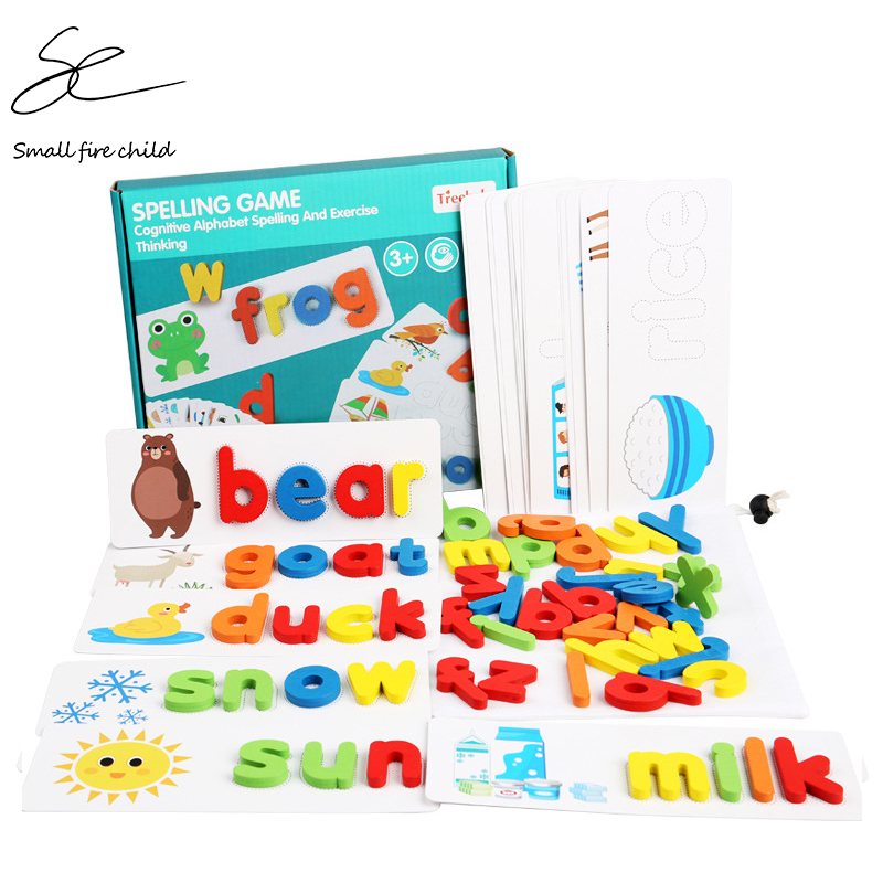 2020 New 26 English Alphabet Spelling Practice Early Childhood Education Cognitive Card Toy Spell Word Game Gift For Children