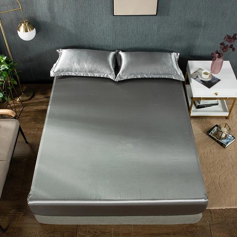 Elastic Silk Satin Fitted Sheet Bed Sheet Mattress Cover Twin Full Queen King