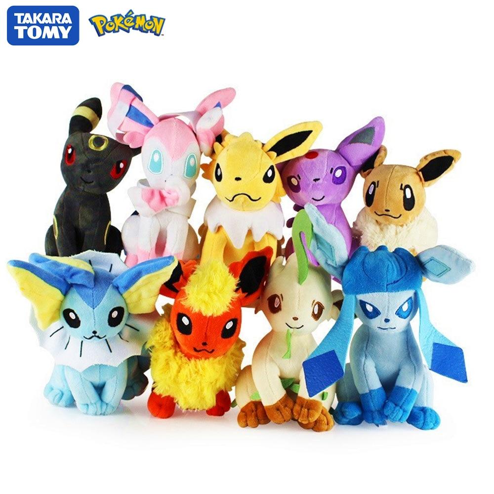 22CM POKEMON Plush Toy Eevee Pokémon Glaceon Leafeon Umbreon Espeon Jolteon Vaporeon Flareon Sylveon Pikachu Poké Pet Elves Gift