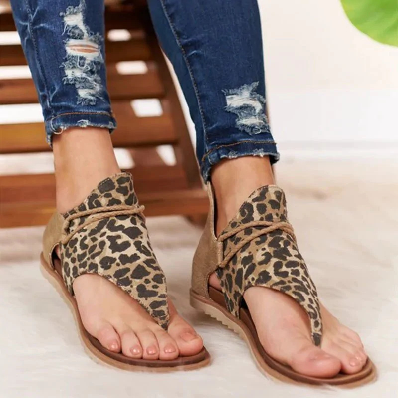 HEE GRAND 2020 New T-Strap Leopard Sandals Women Casual Zip up Flat Shoes Summer PU Rome Sandals Comfort Canvas Creepers XWZ6167