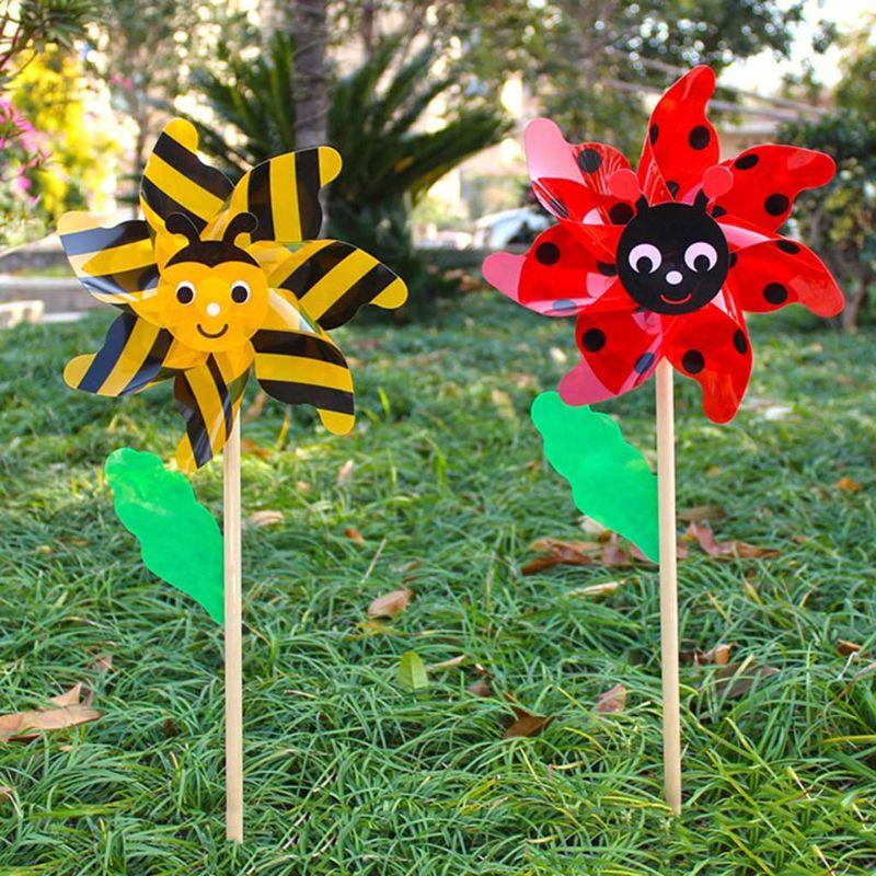 Wood Bee beetle Windmill Wind Spinner Pinwheels Home Garden Yard Decoration Kids Toys