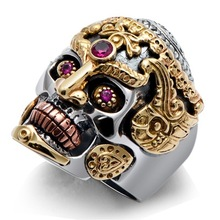 925 sterling silver jewelry fashion domineer skull king set faux corundum men ring faux turquoise cow engraved jewelry set