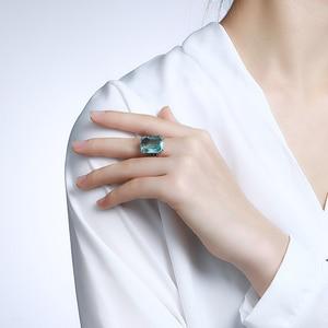 Image 2 - Szjinao Echt 925 Sterling Silber Aquamarin Ringe Für Frauen Sky Blue Topaz Ring Edelsteine Silber 925 Schmuck Weihnachten Geschenk