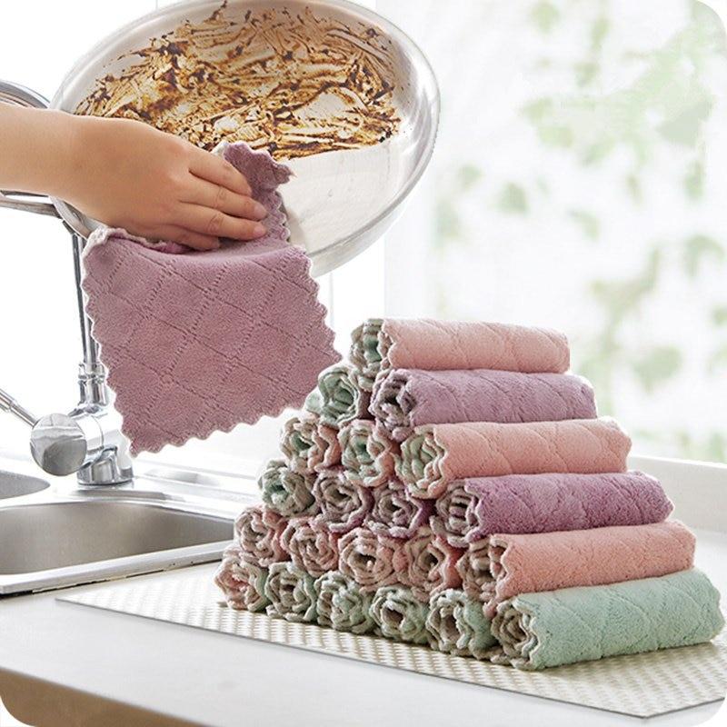 8 шт./лот домашние полотенца из микрофибры для кухни, впитывающая плотная ткань для дома, инструменты для уборки, салфетка для мытья стола, ку...