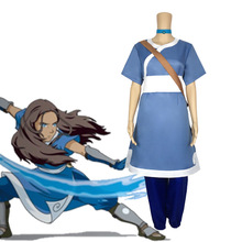 Anime Cosplay Katara-Costume Airbender Avatar:The-Last Party Women for Aang Full-Set