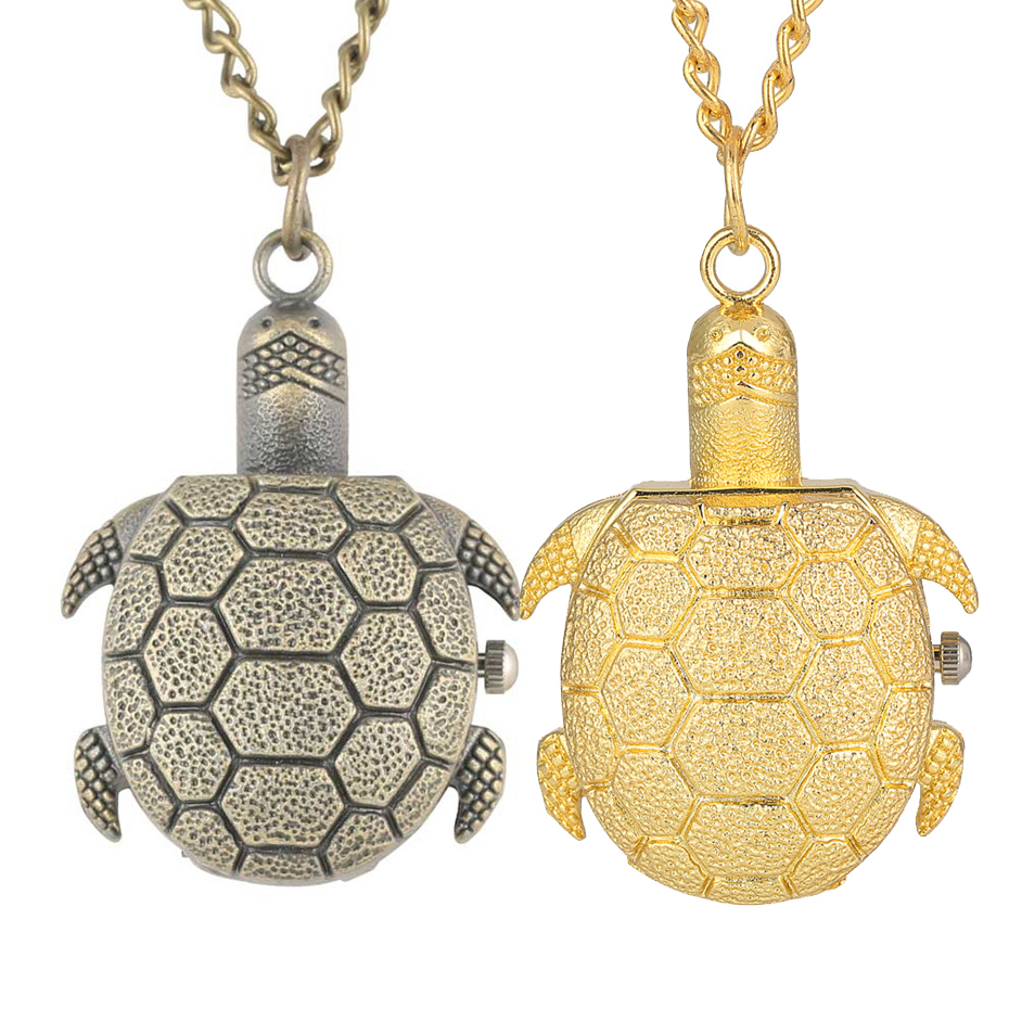 Lovely Tortoise Shape Quartz Fob Pocket Watch With Necklace Chain Best Gift To Girls Children