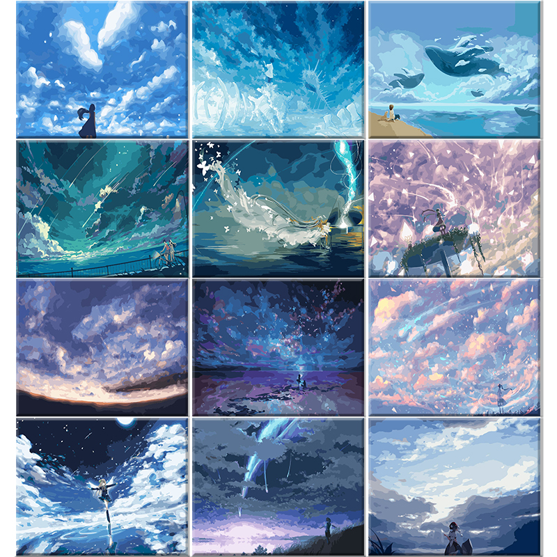 Framed pictures Oil Paint DIY Painting By Numbers Coloring By Numbers landscape blue star sky Home Decoration 40*50cm