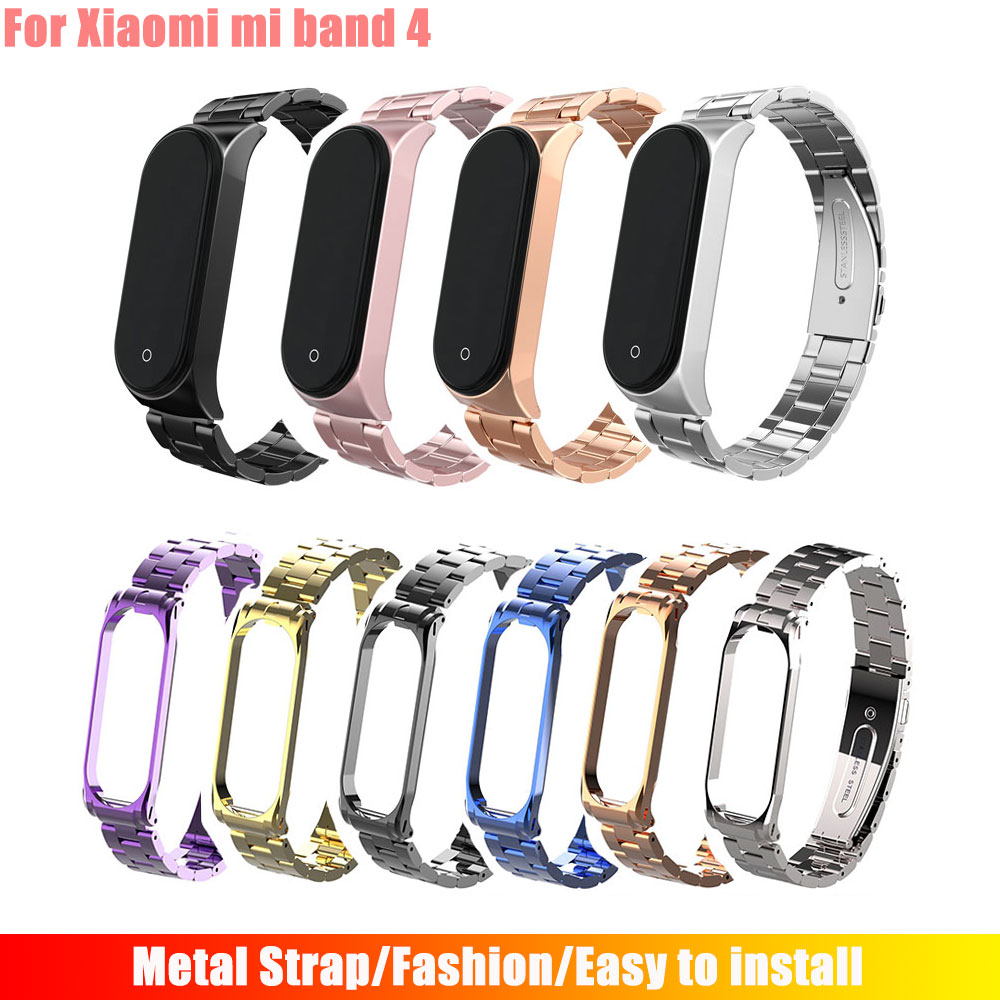 Hangrui Mi Band 4 Replacement Metal Strap Wrist Strap Stainless Steel Bracelet Wristbands MiBand 4 Strap For Xiaomi Mi Band 4