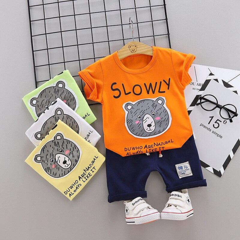 Hot Baby Boys Clothing Sets Cartoon Bear Children Summer Boys Girl Clothes Kids Set Cotton T-shit Short Pants