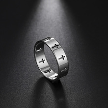 COOLTIME Stainless Steel Couple Rings Silver Color Supernatural Cross Engagement Wedding