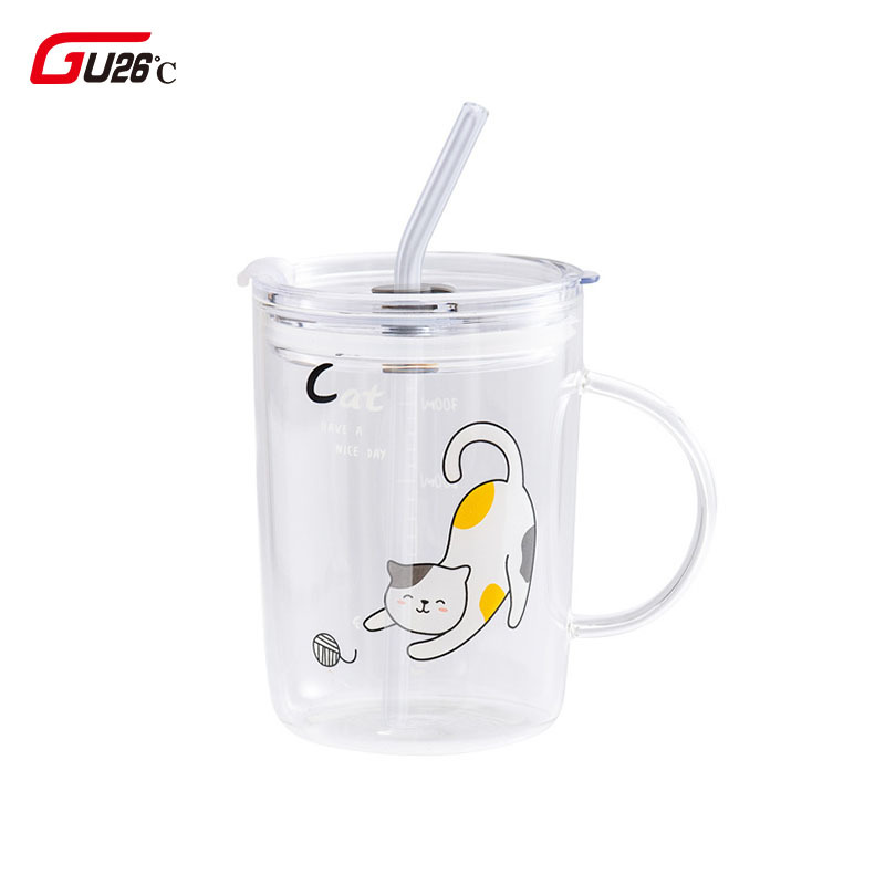 Cute Cat Glass Pattern Glass With Straw Kitchen Juice Milk Tea Coffee Wine Creative Cup Gift For Childen Gift Water Mug