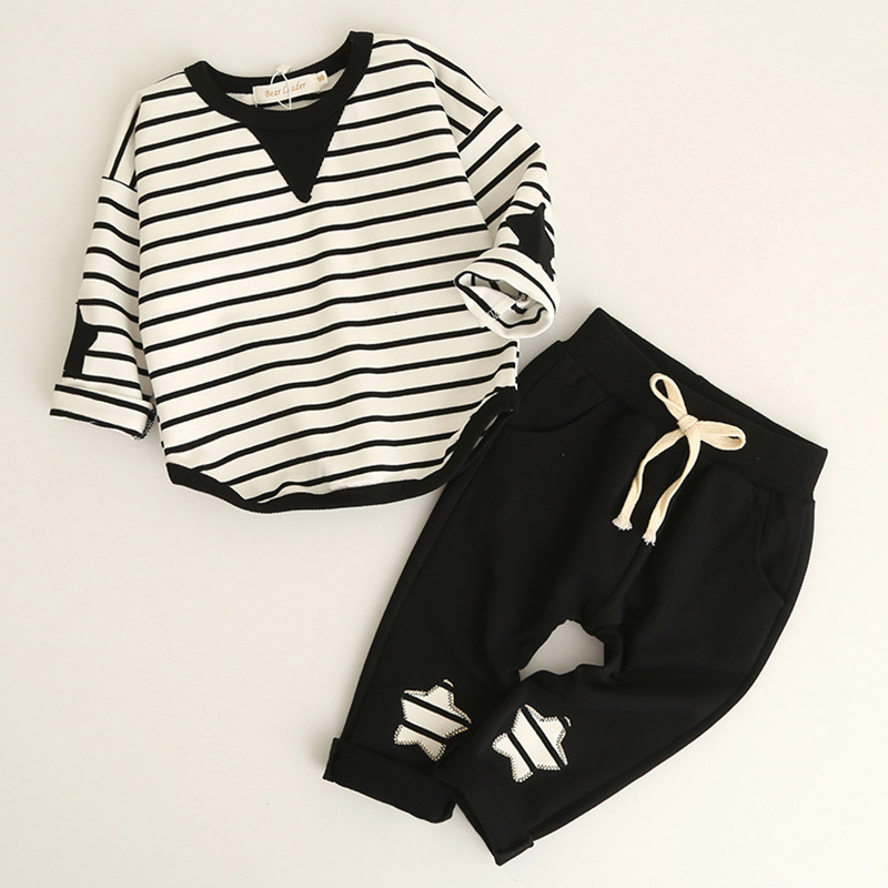 Spring Toddler Clothes For 2-5 Years Old Cotton O-Neck Long Sleeve Tshirt and Pants Of Kids Outfits 2