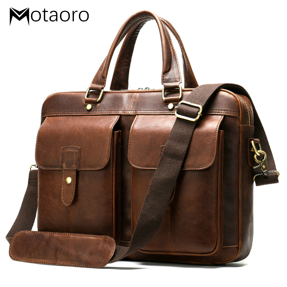 Men's Briefcase Men Vintage Genuine Leather Handbag For Men Leather Laptop Bag Document Office Bags For Macbook 15 Bolso Hombre
