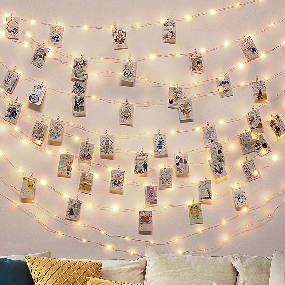 гирлянда на батарейках 10 м USB накаливания для иллюминационных гирлянд Led Fairy светильник праздничный светильник ing шнура с зажимами для фото Б...
