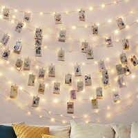 2 M/5 M/10 M Clip de foto USB LED cadena de luces de hadas al aire libre operado por batería guirnalda decoración de Navidad para fiestas bodas Navidad