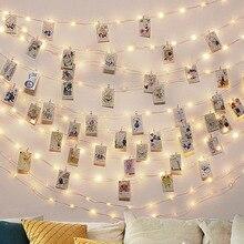 2 M/5 M/10 M Clip de foto USB LED cadena luces hadas exterior batería operado Garland decoración navideña fiesta boda Navidad