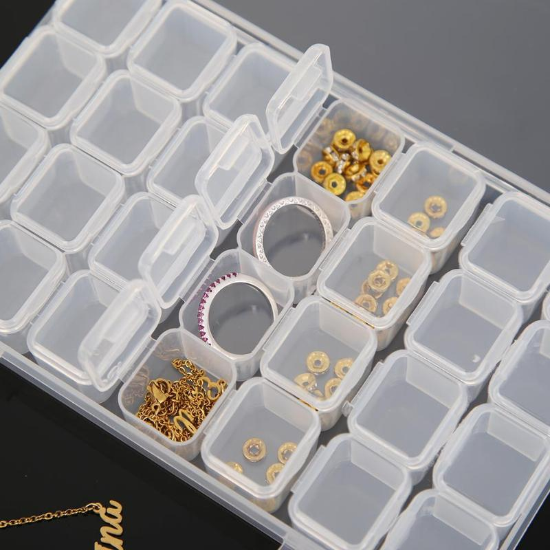 28 Grids Separate Slots Empty Storage Box Clear Nail Art Rhinestones diamond painting Tools Beads Display Storage Case Organizer-2