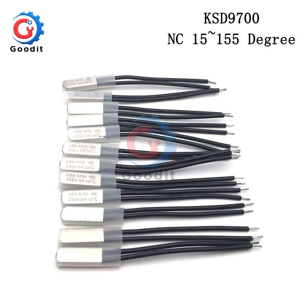 KSD9700 250V 5A 15 〜 155 度バイメタルディスク温度スイッチノーマルクローズクローズサーモスタットサーマルプロテクター 60 80 摂氏