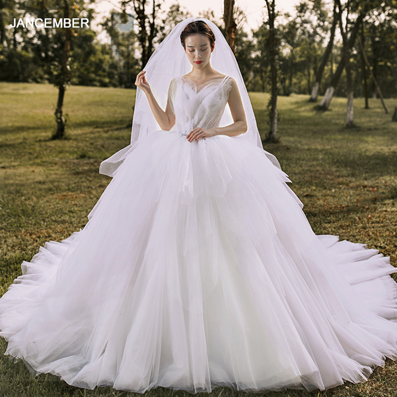J67021 Jancember Princess Wedding Dress For Girls Scoop Sleeveless Court Train Lace Up Back White Gown платье на свадьбу 2020