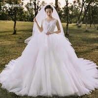 J67021 jancember prinzessin hochzeit kleid für mädchen ärmellose scoop gericht zug lace up zurück weißen kleid платье на свадьбу 2020