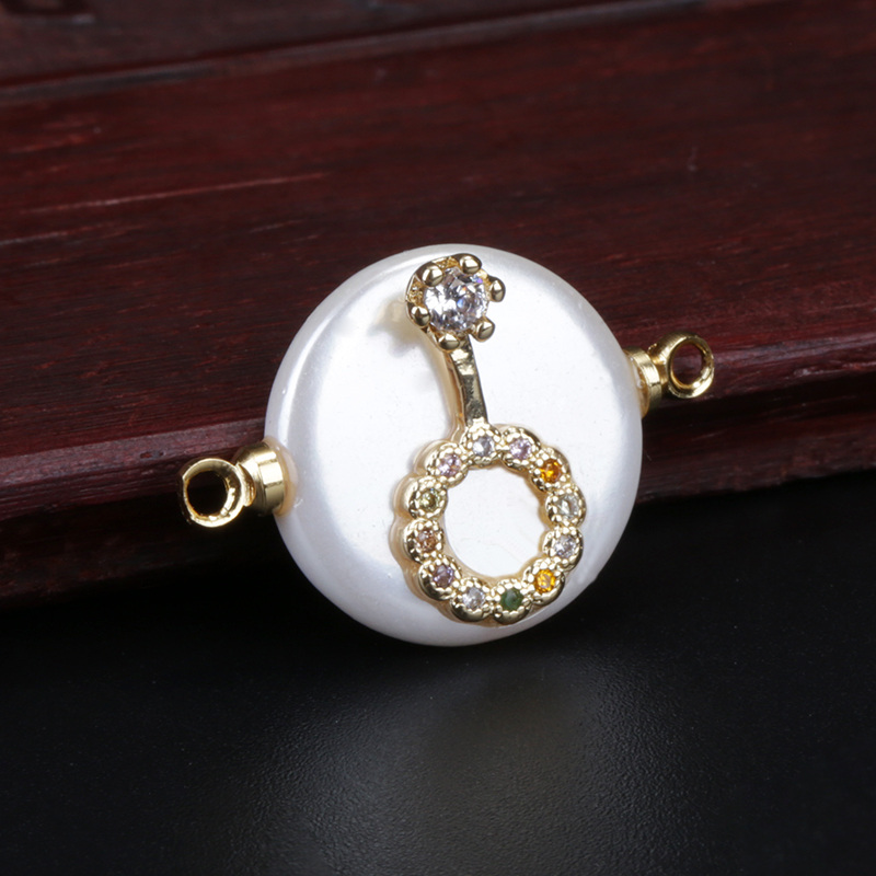 rainbow cz paved tiny key love charm round white pearl beads connector for bracelet choker wedding jewelry making(China)