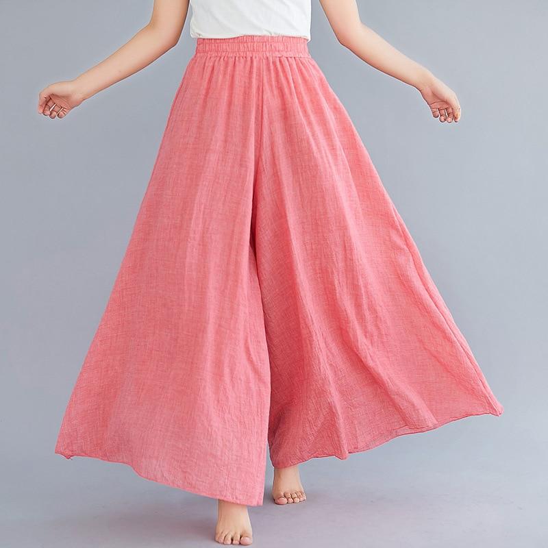 2020 Solid Women Wide Leg Skirt Pants & Capris Spring Summer High Waist Ankle Length Pants Cotton Linen Plain Plus Size Trousers