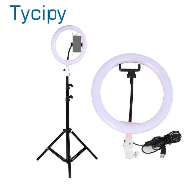 """Tycipy 10 """"lampa pierścieniowa do aparatu do fotografii studyjnej makijaż lampa pierścieniowa telefon wideo lampa na żywo ze statywem do smartfona Canon Nikon"""