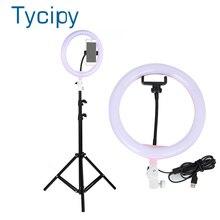 """Tycipy Anillo de luz de 10 """"para cámara de estudio fotográfico, anillo de luz de maquillaje para teléfono móvil, lámpara de luz en vivo con trípode para Smartphone, Canon y Nikon"""
