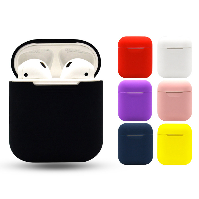 Silicone Bluetooth Wireless Earphone Case for AirPods Protective Cover Skin Accessories for Apple AirPods Charging Box Black