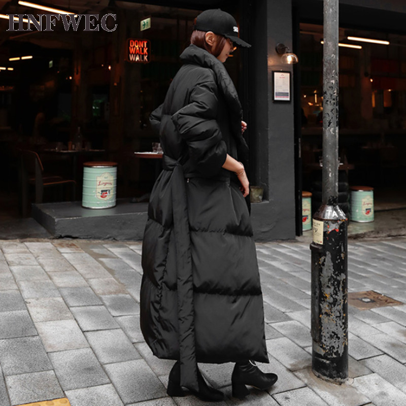 2019 Winter New Casual Fashion Temperament Women Loose Plus Solid Color Hooded Knee Down Jacket Z540