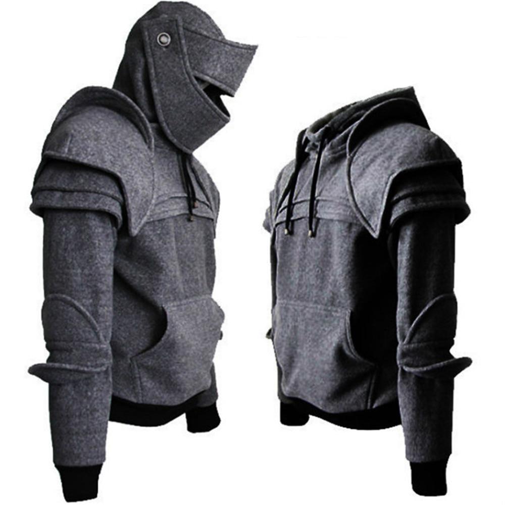 Cosplay Warrior Knight Sweatshirt Sweater Medieval Retro Hooded Drawstring Sweater Helmet Knight Mask Jacket Men Costumes Coat