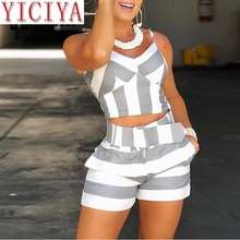 2020 summer clothing Colorblock Striped Cami Tops Shorts Sets Ladies Casual 2 Piece Set Spaghetti Strap Tops and Short Pants plus knot front striped cami with shorts