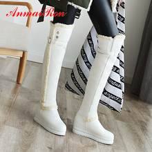 ANMAIRON Flat Round Toe Height Increasing Over The Knee High Boots Buckle Bordered Thigh High Boots PU Winter White Boots Women