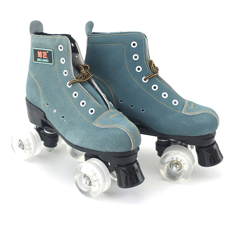 JK Skates Adult PU Leather Quad Roller Skates Double Line Skates Two Line Skating Shoes Patines With Flashing Or Not PU Wheels