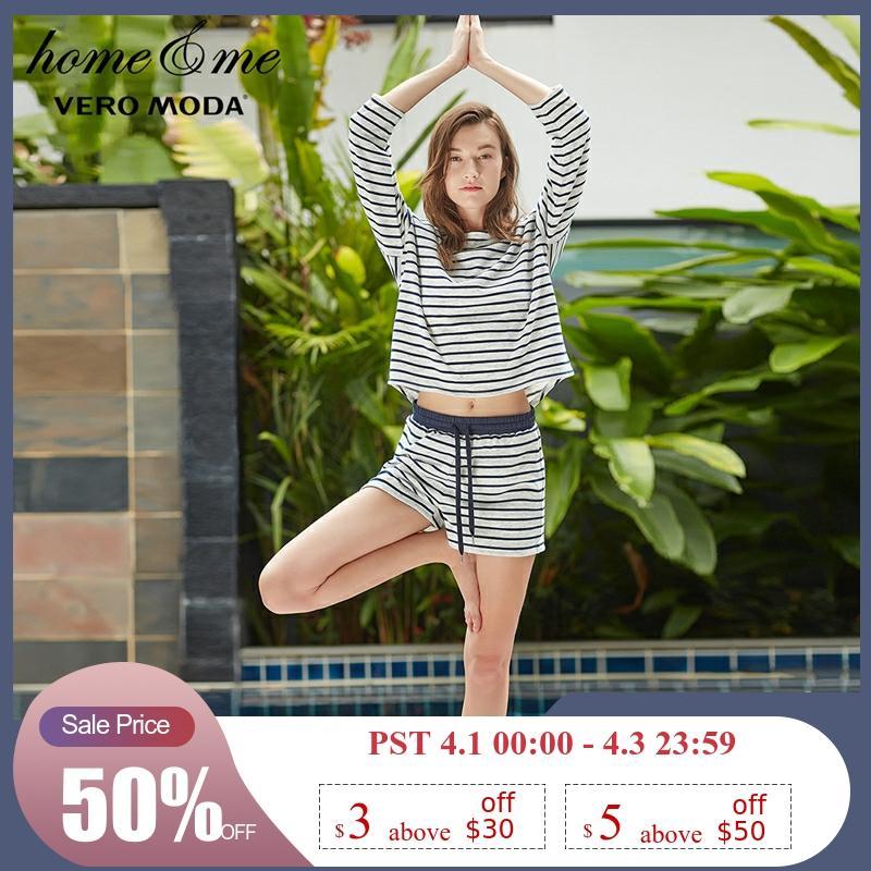 Vero Moda Women's Elasticized Waist Stripe Split Leisure Shorts | 3181R2509