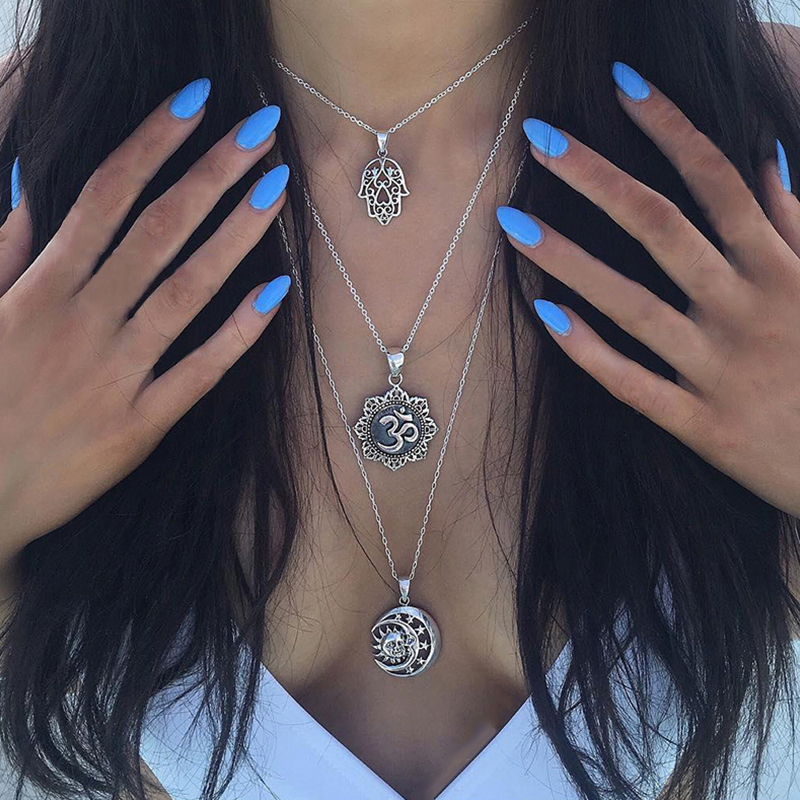 3Pcs/Set Personality Palm Om Tarot Symbol Moon Star Pendant Multilayer Necklace Women Silver Color Wedding Party Jewelry