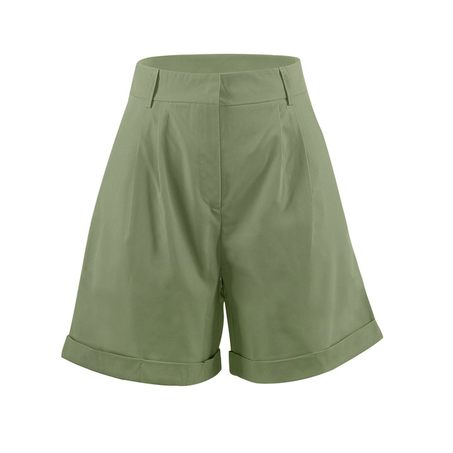 High Waist Shorts Women's Summer 2021 Elegant Soft Solid Color Loose Shorts with Pockets for Ladies Casual Short Femme Trousers 4