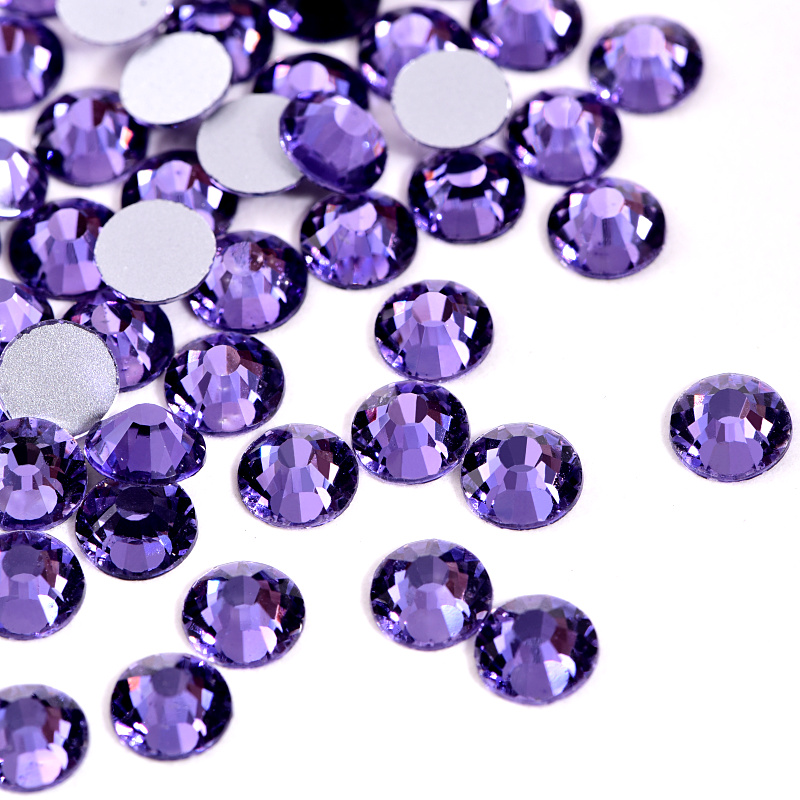1440pcs Lavender Purple Color Non Hot Fix Rhinestones SS6-SS30 New Violet Crystal Strass Flatback Glue On Stones For 3D Nail Decoration B1303