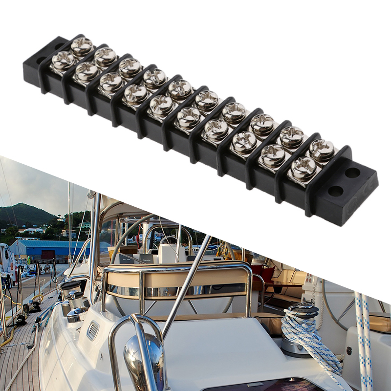 10 Way Boat Terminal Block Bus Bar Marine Power Distribution Bus Bar Terminal Block For Marine Auto Yacht RV Camper 30A 12V