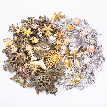 50g 100g Marine Life Metal Mixed Charms Pendants Bracelets Necklaces Craft Accessories for DIY Wholesale Craft Jewelry Making 10pcs tree branch leaf metal charms pendants brooch necklaces bracelets charms findings diy for jewelry making craft wholesale