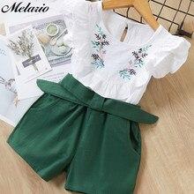 Melario-Conjuntos de ropa informal para niñas, ropa informal femenino de chaleco + pantalones con estampado de flores para niñas, 2020